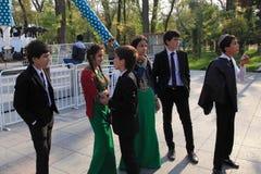 Ashgabad, Turquemenistão - 10 de outubro de 2014 Grupo de alunos dentro Foto de Stock Royalty Free