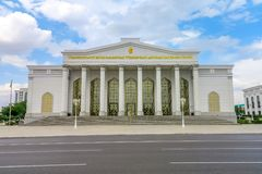Ashgabat Main Drama Theater. Ashgabat Awesome Appealing President Saparmurat Niyazov Main Drama Theater of Turkmenistan stock photo
