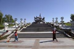 Ashgabat Turkmenistan - April 28, 2017 Del av sportcomplen Royaltyfri Fotografi