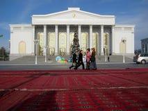 ASHGABAT, TURKMENISTAN - CIRCA DECEMBER 2014: Christmas decoration on streets of city circa december 2014, Ashgabad, capital of T. Urkmenistan stock image