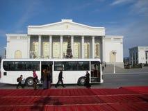 ASHGABAT, TURKMENISTAN - CIRCA DECEMBER 2014: Christmas decoration on streets of city circa december 2014, Ashgabad, capital of T. Urkmenistan royalty free stock images