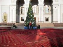 ASHGABAT, TURKMENISTAN - CIRCA DECEMBER 2014: Christmas decoration on streets of city circa december 2014, Ashgabad, capital of T royalty free stock image