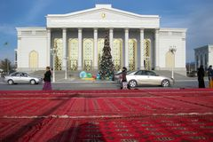 ASHGABAT, TURKMENISTAN - CIRCA DECEMBER 2014: Christmas decoration on streets of city circa december 2014, Ashgabad, capital of T. Urkmenistan royalty free stock image