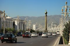 Ashgabat, Turkmenistan - Circa June 2013: Vew on the Wide modern Royalty Free Stock Photography
