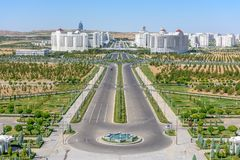 Ashgabat Turkmenistan buildings. Ashgabat Turkmenistan city scape, skyline of beautiful architecture and parks in Ashgabad the capital city of Turkmenistan in royalty free stock photography