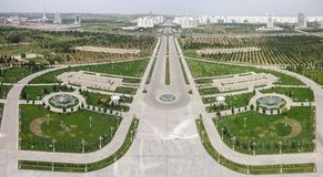 Ashgabat, Turkmenistan, cityline panorama seen from the top of Neutrality Arch stock image
