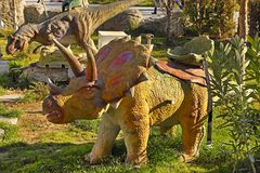 Ashgabat, Turkmenistan - December 23, 2014.  Realistic model of. Dinosaur in the central park Stock Image