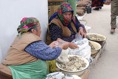 Ashgabat, Turkmenistan - February 26. Portrait of two unidentif stock photo