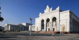 Ashgabat, Turkmenistan - October 15, 2014: Architecture of Ashgabat. View on the theater building. Ashkhabad. Turkmenistan in Oct. Ober 15, 2014 royalty free stock photos