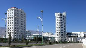 Ashgabat, Turkmenistan - October 23, 2014: Part of the complex -. Olympic Village (Ashgabat, 2017). October 23, 2014.  Ashgabat first in the Central Asian Royalty Free Stock Photo