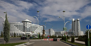 Ashgabat, Turkmenistan - October 20, 2015:  Part of the sport complex Stock Photography