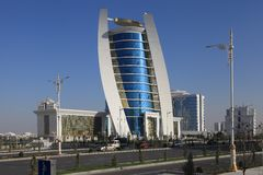 Ashgabat, Turkmenistan - October 11, 2014: View on the new buil stock images