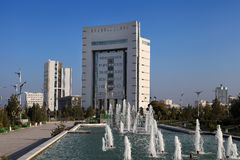 Ashgabat, Turkmenistan - October 11, 2014: View on the  new buil Royalty Free Stock Photography