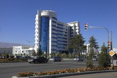 Ashgabat, Turkmenistan - Oktober 23, 2014 Nieuwe medische cente Stock Fotografie