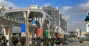 ASHGABAT, TURKMENISTAN, September 26, 2017: Modern architecture. Of Ashgabat. One of the streets of Ashgabat. ASHGABAT, TURKMENISTAN, September 26, 2017 stock photos