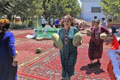 Ashgabat Turkmenistan, Sierpień, -, 17, 2017: Melonowy festiwal w Tu Obrazy Royalty Free