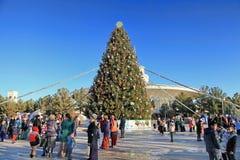 ASHGABAT TURKMENISTAN, Styczeń, -, 04, 2017: Nowego Roku drzewo w t Zdjęcia Stock