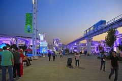 Ashgabat Turkmenistan, Wrzesień, - 24, 2017: Noc widok Fotografia Stock