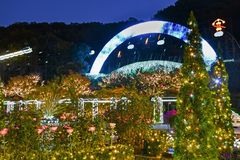 Ashikaga Flower Park Winter Illumination 2018. Japan`s Ashikaga Flower Park during its 2018 Winter Illumination. Named Flower Fantasy, the event is one of the royalty free stock image