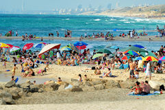 Ashkelon - Israel. ASHKELON,ISR - JUNE 06:Visitors in Ashkelon beach on June 06 2011.It's southernmost city on the Israeli Mediterranean shoreline with 12 km of Royalty Free Stock Images