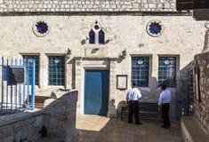 Ashkenazi synagoge vóór Shabbat Tzfat (Safed) israël stock afbeeldingen