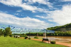 Ashland Kentucky Waterfront Park along the Ohio River. Brown waters of the Ohio River flow under two bridges along a waterfront park in Ashland, Kentucky royalty free stock photography