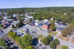 Ashland town center aerial view, MA, USA. Ashland town center aerial view including Federated Church and Town Hall in Ashland, Massachusetts, USA royalty free stock image