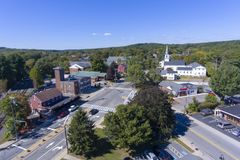 Ashland town center aerial view, MA, USA. Ashland town center aerial view including Federated Church and Town Hall in Ashland, Massachusetts, USA royalty free stock photography