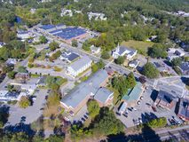 Ashland town center aerial view, MA, USA. Ashland town center aerial view including Federated Church and Town Hall in Ashland, Massachusetts, USA stock images
