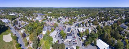 Ashland town center aerial view, MA, USA. Ashland town center aerial view panorama including Federated Church and Town Hall in Ashland, Massachusetts, USA stock photography