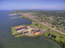 Ashland, Wisconsin and Power Plant. Ashland is a small coastal town on Lake Superior in Wisconsin stock photos