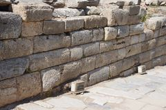 Ashlar wall from the Hellenistic city  of    Ephesus Royalty Free Stock Photography