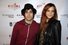 Ashlee Simpson on the red carpet. Ashlee Simpson Wentz and Pete Wentz on the red carpet Royalty Free Stock Photography