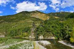 Ashley Gorge flowing through Lees Valley in New Zealand. Ashley Gorge flowing through Lees Valley in Canterbury, New Zealand stock photo