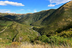 Ashley Gorge flowing through Lees Valley in New Zealand. Ashley Gorge flowing through Lees Valley in Canterbury, New Zealand stock photography