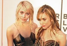 Ashley Olsen and Mary-Kate Olsen. Tribeca film festival Actresses Ashley and Mary-Kate Olsen arrive on the red carpet for the New York City premiere of `New York Stock Image