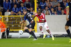 Ashley Young Champion League FC Brugge - Manchester United Stock Foto's