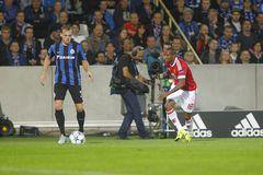 Ashley Young Champion League FC Brugge - Manchester United Royalty-vrije Stock Fotografie