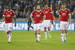 Ashley Young, Daley Blind, Chris Smalling en Michael Carrick Champion League FC Brugge - Manchester United Stock Fotografie