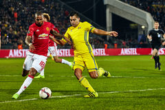 Ashley Young, Game moments in match 1/8 finals of the Europa League. Between FC `Rostov` and `Manchester United`, 09 March 2017 in Rostov-on-Don, Russia stock images