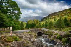 Ashness Bridge over small stream in Lake District Royalty Free Stock Photography