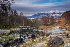 Ashness Bridge and Skiddaw in winter Royalty Free Stock Image