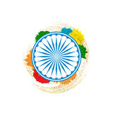 Ashok Chakra in Indian tricolor background. Illustration of Ashok Chakra in Indian tricolor background Stock Image