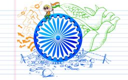 Ashok Chakra on Tricolor Doodle Royalty Free Stock Photography