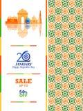 Ashoka Chakra την ευτυχή ημέρα Δημοκρατίας της Ινδίας Salebackground διανυσματική απεικόνιση