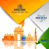Ashoka Chakra την ευτυχή ημέρα Δημοκρατίας της Ινδίας Salebackground απεικόνιση αποθεμάτων
