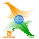 Ashoka Chakra koło na tricolor tle dla 26 Stycznia republiki dnia Iindia royalty ilustracja