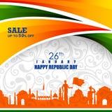 Ashoka Chakra på lycklig republikdag av Indien Salebackground royaltyfri illustrationer