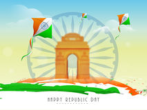 Ashoka wheel, india gate and kites for Indian Republic Day . Stock Photo