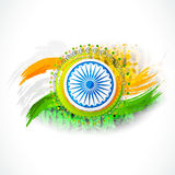 Ashoka Wheel for Indian Independence Day. Shiny Ashoka Wheel on national flag color paint stroke background for Indian Independence Day celebration Stock Photography